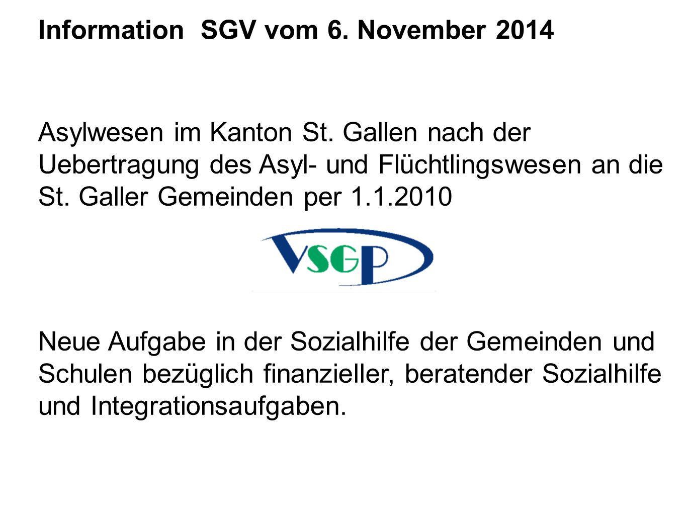 Information SGV vom 6. November 2014 Asylwesen im Kanton St. Gallen nach der Uebertragung des Asyl- und Flüchtlingswesen an die St. Galler Gemeinden p