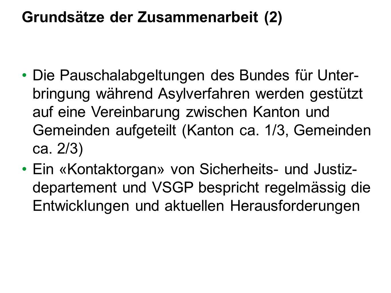 Grundsätze der Zusammenarbeit (2) Die Pauschalabgeltungen des Bundes für Unter- bringung während Asylverfahren werden gestützt auf eine Vereinbarung z