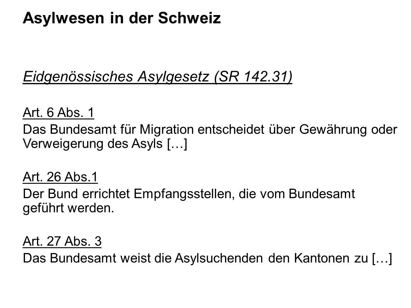 Asylwesen in der Schweiz Eidgenössisches Asylgesetz (SR 142.31) Art. 6 Abs. 1 Das Bundesamt für Migration entscheidet über Gewährung oder Verweigerung