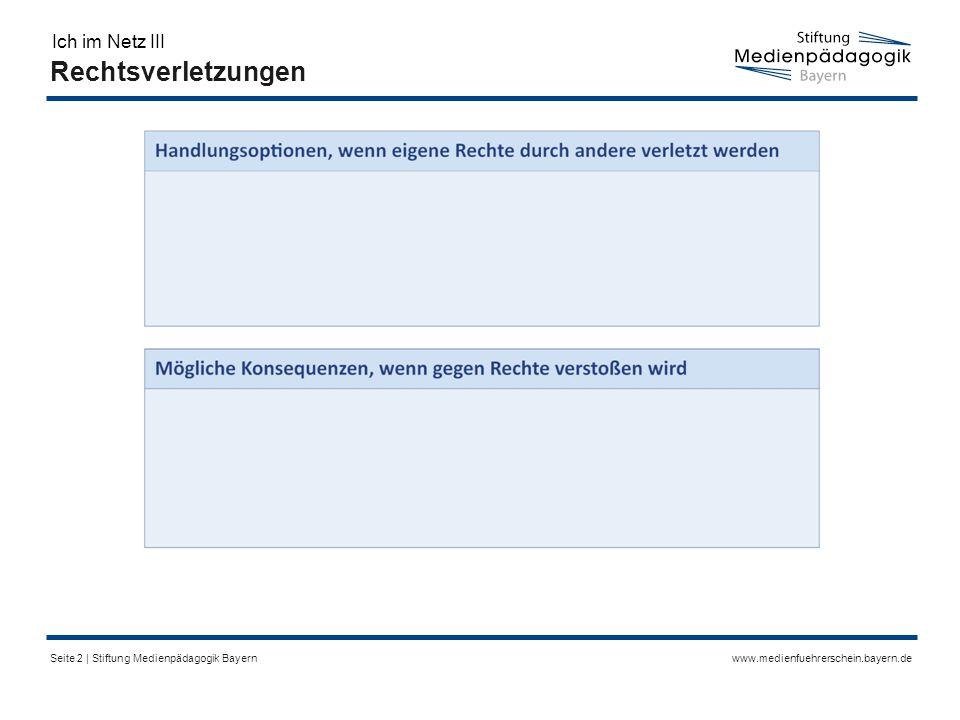 www.medienfuehrerschein.bayern.deSeite 2 | Stiftung Medienpädagogik Bayern Rechtsverletzungen Ich im Netz III