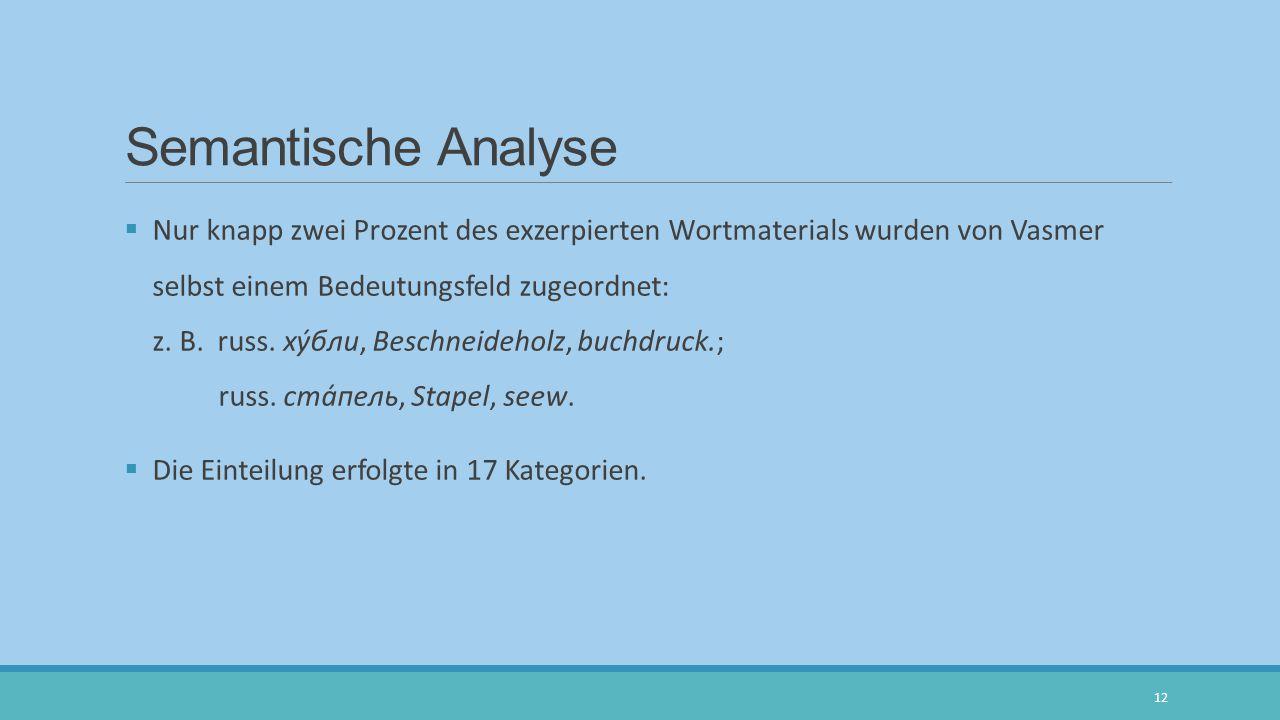 Semantische Analyse  Nur knapp zwei Prozent des exzerpierten Wortmaterials wurden von Vasmer selbst einem Bedeutungsfeld zugeordnet: z. B. russ. ху́б