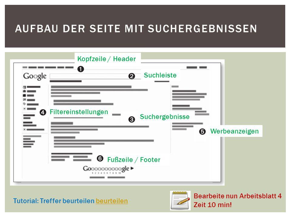 AUFBAU DER SEITE MIT SUCHERGEBNISSEN Tutorial: Treffer beurteilen beurteilenbeurteilen Werbeanzeigen Kopfzeile / Header Suchleiste Suchergebnisse Filt