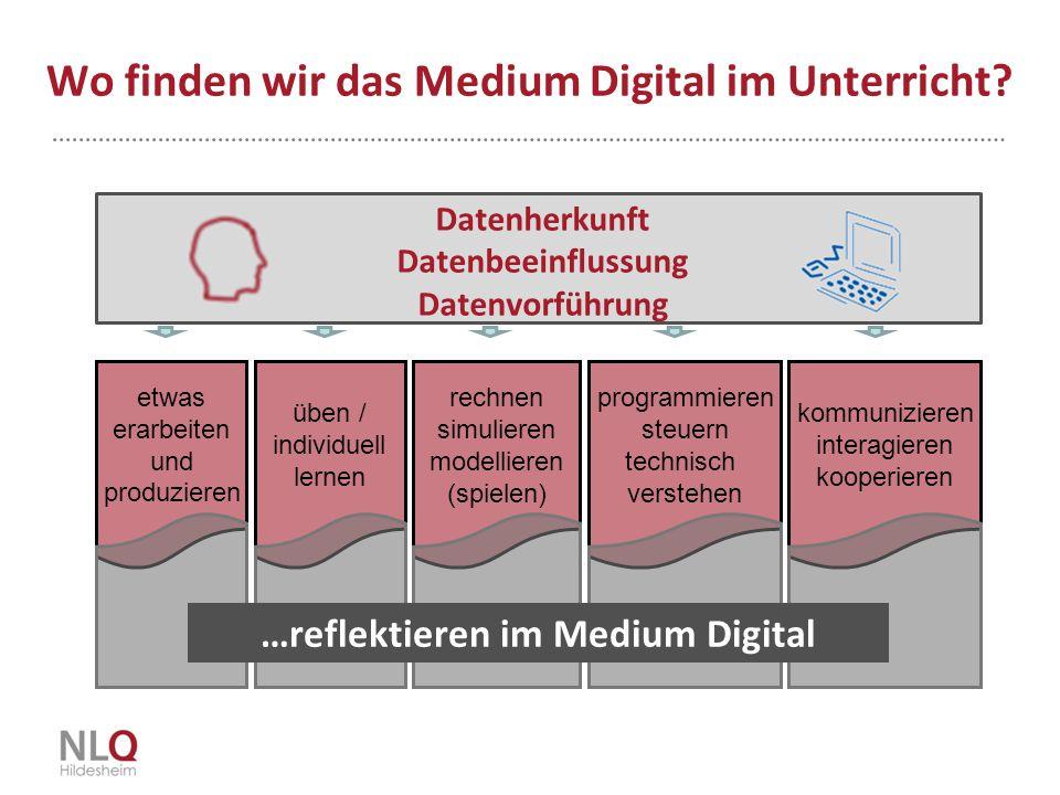 Wo finden wir das Medium Digital im Unterricht? etwas erarbeiten und produzieren üben / individuell lernen rechnen simulieren modellieren (spielen) pr
