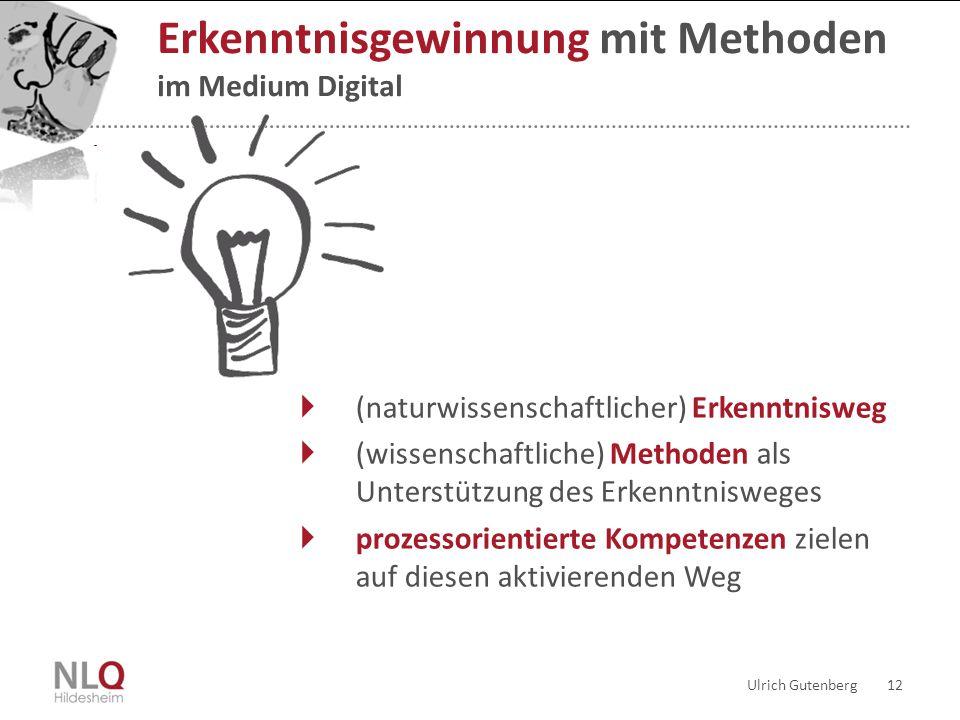 Ulrich Gutenberg 12 Erkenntnisgewinnung mit Methoden im Medium Digital  (naturwissenschaftlicher) Erkenntnisweg  (wissenschaftliche) Methoden als Un