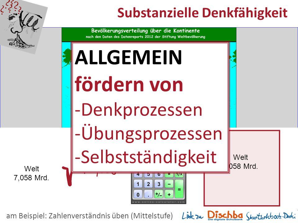 15 Substanzielle Denkfähigkeit Welt 7,058 Mrd. am Beispiel: Zahlenverständnis üben (Mittelstufe) Welt 7,058 Mrd. ALLGEMEIN fördern von -Denkprozessen