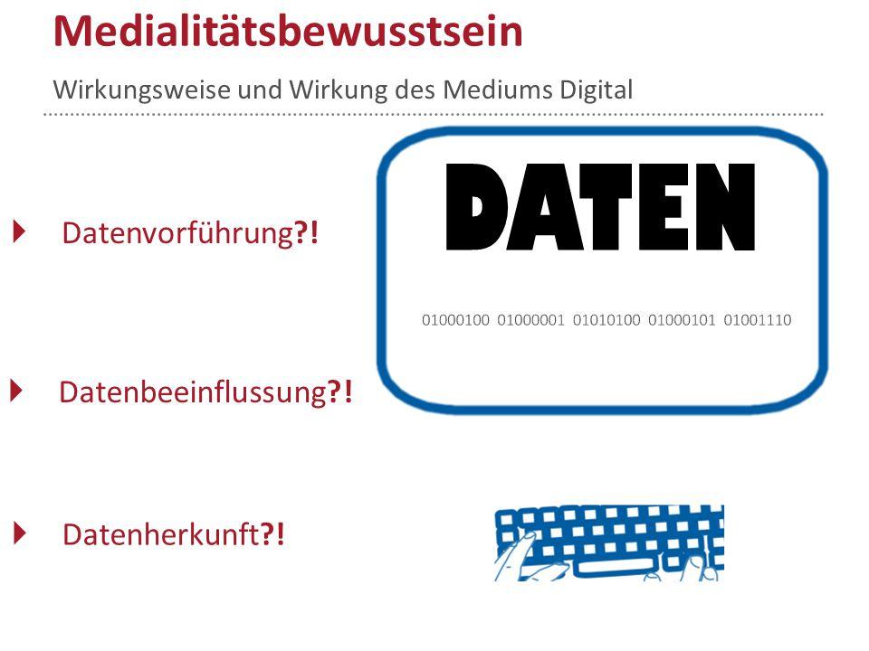  Datenverarbeitung Ulrich Gutenberg 4 DATEN Bewusstsein entwickeln Wirkungsweise und Wirkung des Mediums Digital Medialitätsbewusstsein  Datenausgab