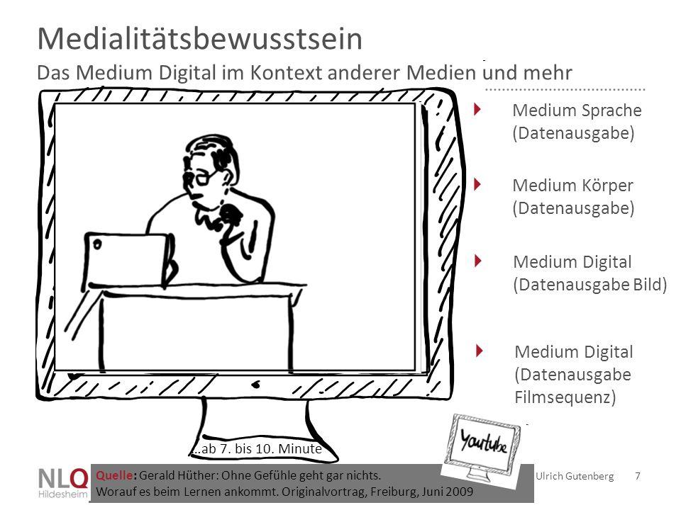 Medialitätsbewusstsein Das Medium Digital im Kontext anderer Medien und mehr Ulrich Gutenberg 7  Medium Sprache (Datenausgabe)  Medium Körper (Daten