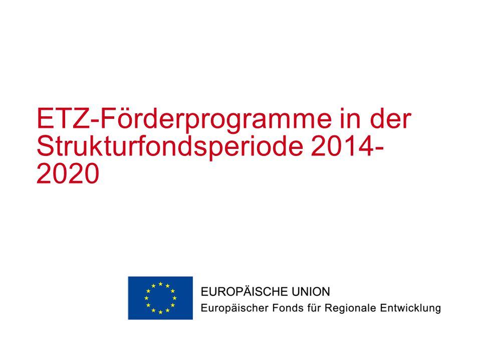 ETZ-Förderprogramme in der Strukturfondsperiode 2014- 2020