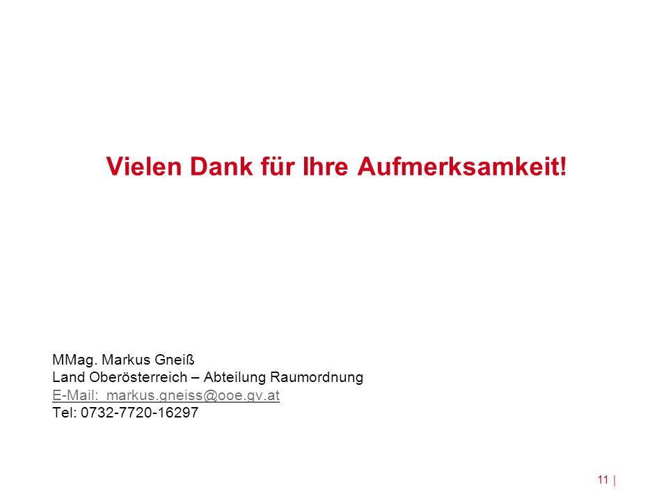 Vielen Dank für Ihre Aufmerksamkeit! MMag. Markus Gneiß Land Oberösterreich – Abteilung Raumordnung E-Mail: markus.gneiss@ooe.gv.at Tel: 0732-7720-162