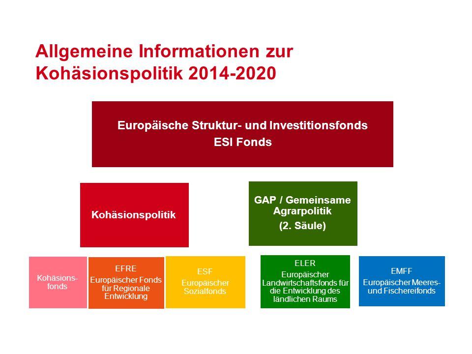 Allgemeine Informationen zur Kohäsionspolitik 2014-2020 Europäische Struktur- und Investitionsfonds ESI Fonds EMFF Europäischer Meeres- und Fischereif
