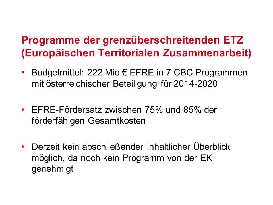 Budgetmittel: 222 Mio € EFRE in 7 CBC Programmen mit österreichischer Beteiligung für 2014-2020 EFRE-Fördersatz zwischen 75% und 85% der förderfähigen