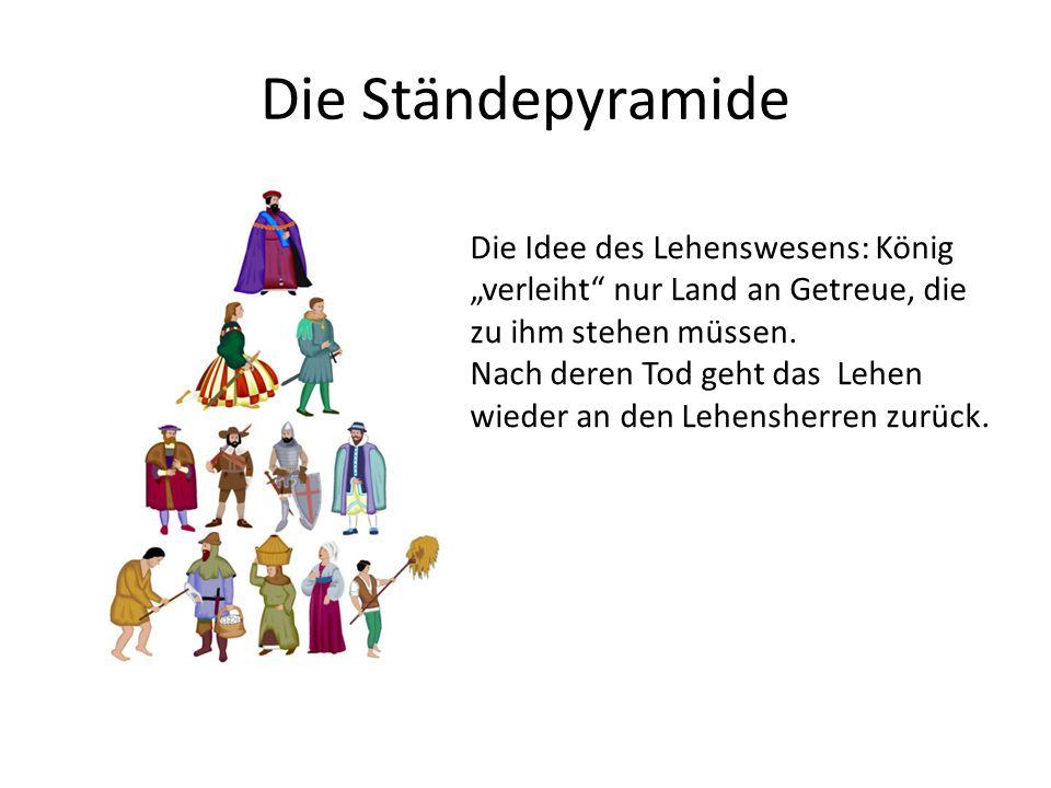 """Die Ständepyramide Die Idee des Lehenswesens: König """"verleiht nur Land an Getreue, die zu ihm stehen müssen."""