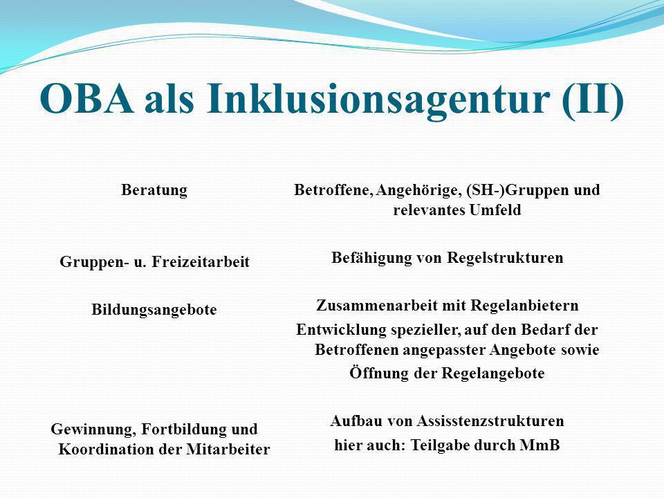 OBA als Inklusionsagentur (I) Netzwerkarbeit / Interessensvertretung Gestaltung (sozialer) Infrastruktur Öffentlichkeitsarbeit Beteiligung an oder Auf