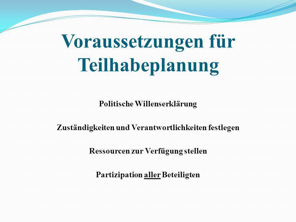 Voraussetzungen für Teilhabeplanung Politische Willenserklärung Zuständigkeiten und Verantwortlichkeiten festlegen Ressourcen zur Verfügung stellen Partizipation aller Beteiligten