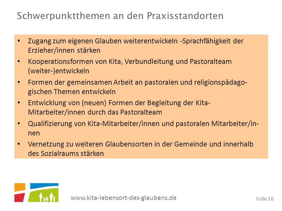 www.kita-lebensort-des-glaubens.de Folie 10 Schwerpunktthemen an den Praxisstandorten Zugang zum eigenen Glauben weiterentwickeln -Sprachfähigkeit der