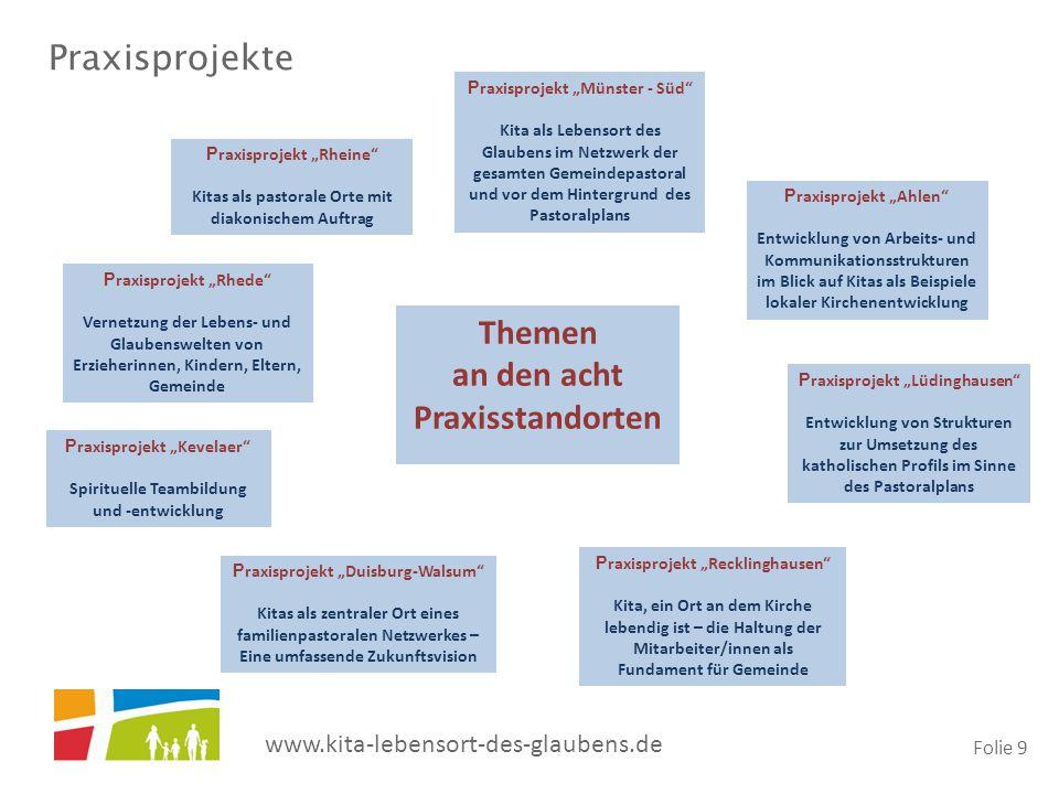 "www.kita-lebensort-des-glaubens.de Folie 9 P raxisprojekt ""Rheine"" Kitas als pastorale Orte mit diakonischem Auftrag P raxisprojekt ""Münster - Süd"" Ki"