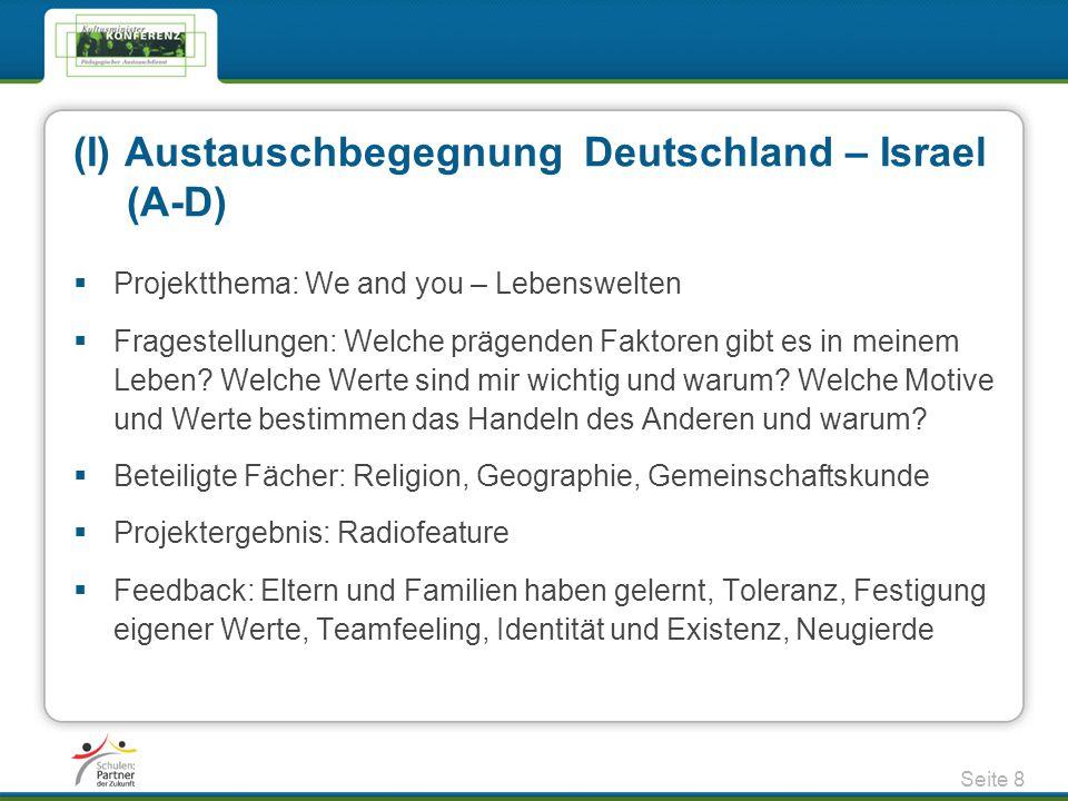 (I) Austauschbegegnung Deutschland – Israel (A-D)  Projektthema: We and you – Lebenswelten  Fragestellungen: Welche prägenden Faktoren gibt es in me
