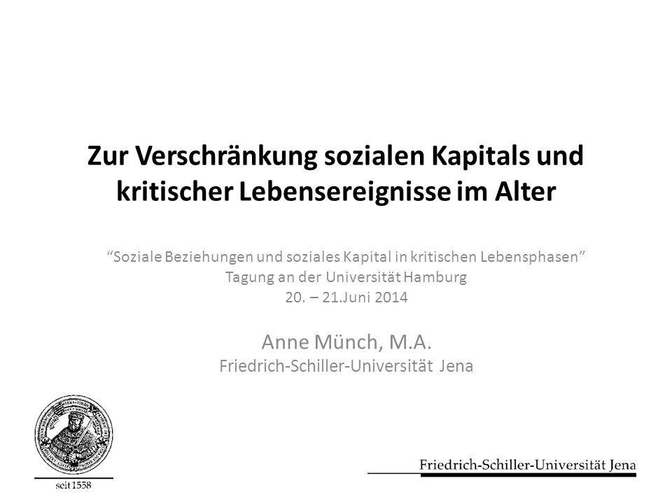 Zur Verschränkung sozialen Kapitals und kritischer Lebensereignisse im Alter Soziale Beziehungen und soziales Kapital in kritischen Lebensphasen Tagung an der Universität Hamburg 20.