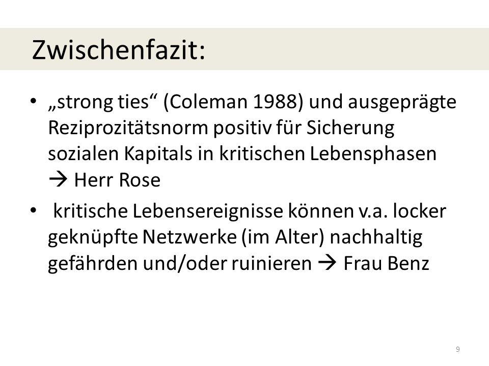 """""""strong ties (Coleman 1988) und ausgeprägte Reziprozitätsnorm positiv für Sicherung sozialen Kapitals in kritischen Lebensphasen  Herr Rose kritische Lebensereignisse können v.a."""