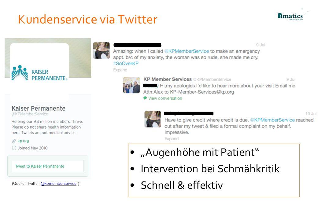 """Kundenservice via Twitter """"Augenhöhe mit Patient"""" Intervention bei Schmähkritik Schnell & effektiv 21 (Quelle: Twitter @kpmemberservice )@kpmemberserv"""