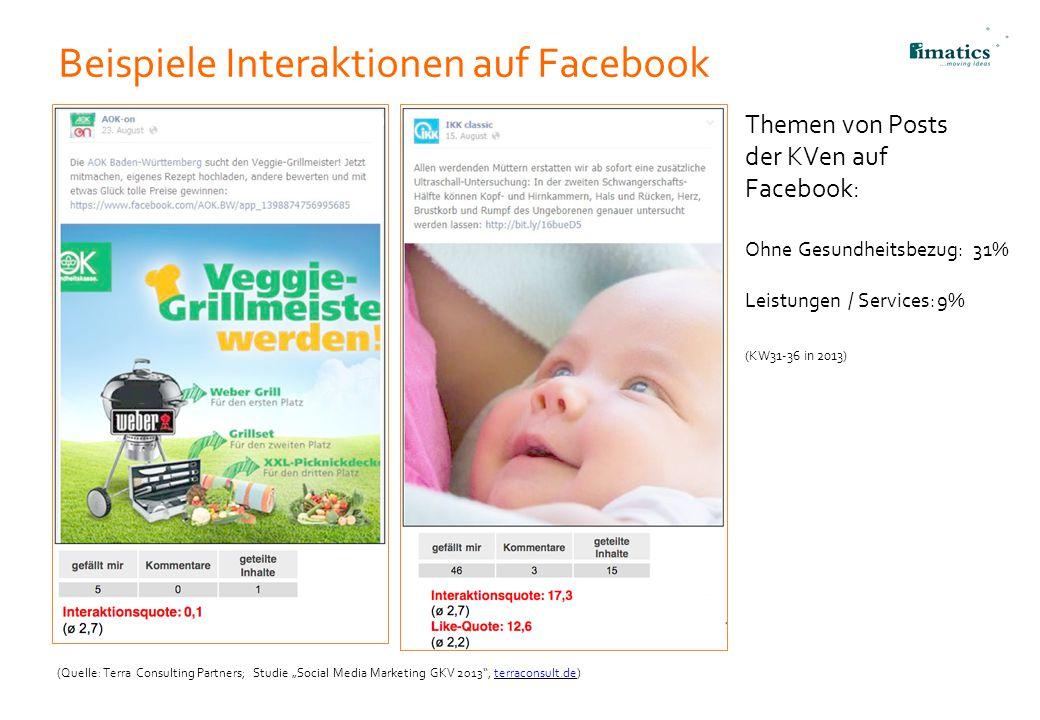 "Beispiele Interaktionen auf Facebook (Quelle: Terra Consulting Partners; Studie ""Social Media Marketing GKV 2013"", terraconsult.de)terraconsult.de 23"