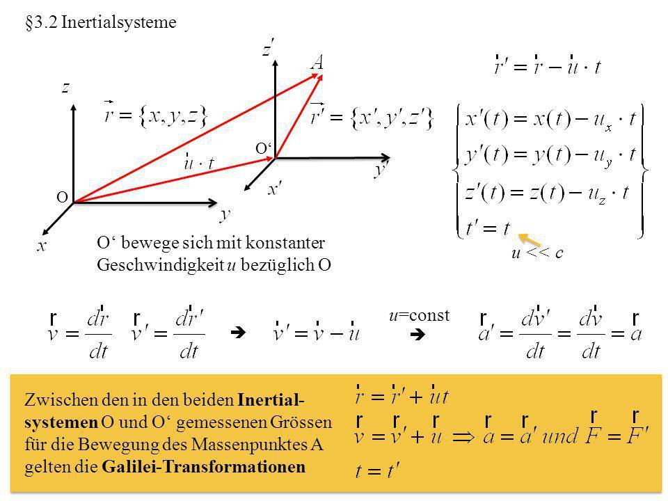 §3.2 Inertialsysteme O O' O' bewege sich mit konstanter Geschwindigkeit u bezüglich O u << c   u=const Zwischen den in den beiden Inertial- systemen O und O' gemessenen Grössen für die Bewegung des Massenpunktes A gelten die Galilei-Transformationen