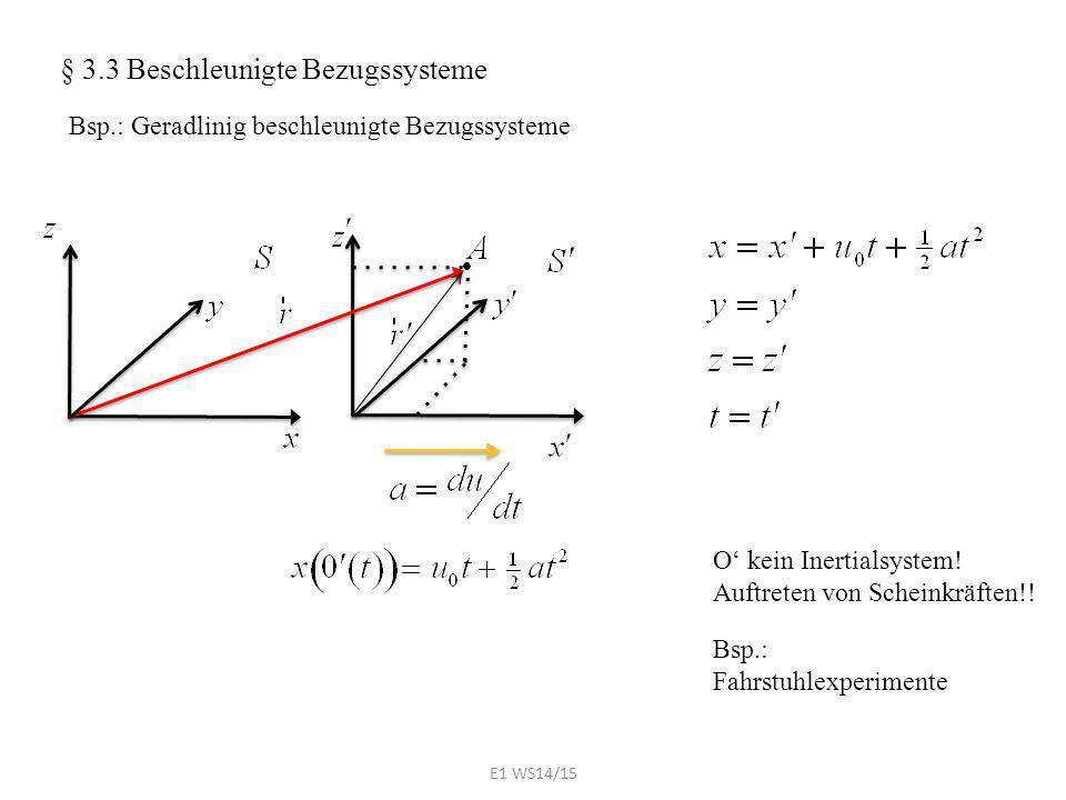  § 3.3 Beschleunigte Bezugssysteme Bsp.: Geradlinig beschleunigte Bezugssysteme Bsp.: Fahrstuhlexperimente O' kein Inertialsystem! Auftreten von Sche