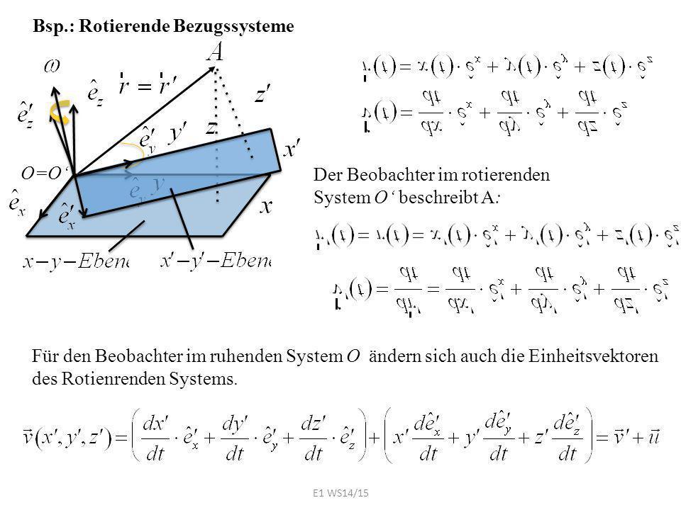 Bsp.: Rotierende Bezugssysteme O=O' Der Beobachter im rotierenden System O' beschreibt A: Für den Beobachter im ruhenden System O ändern sich auch die