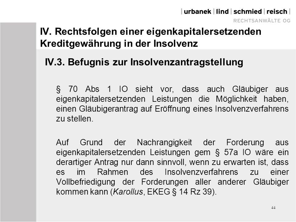 IV. Rechtsfolgen einer eigenkapitalersetzenden Kreditgewährung in der Insolvenz IV.3. Befugnis zur Insolvenzantragstellung § 70 Abs 1 IO sieht vor, da