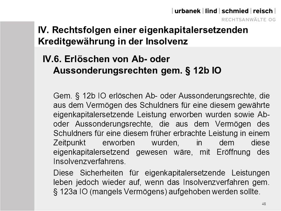 IV. Rechtsfolgen einer eigenkapitalersetzenden Kreditgewährung in der Insolvenz IV.6. Erlöschen von Ab- oder Aussonderungsrechten gem. § 12b IO Gem. §