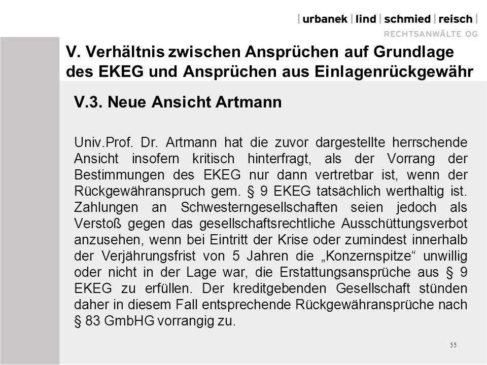V. Verhältnis zwischen Ansprüchen auf Grundlage des EKEG und Ansprüchen aus Einlagenrückgewähr V.3. Neue Ansicht Artmann Univ.Prof. Dr. Artmann hat di