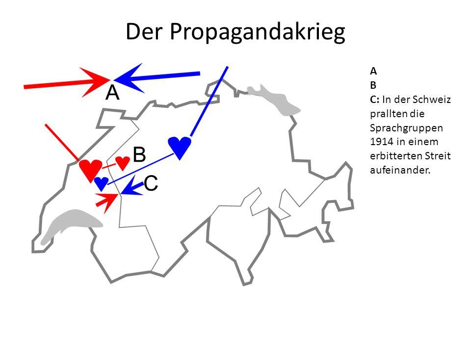 Der Propagandakrieg A B C: In der Schweiz prallten die Sprachgruppen 1914 in einem erbitterten Streit aufeinander.