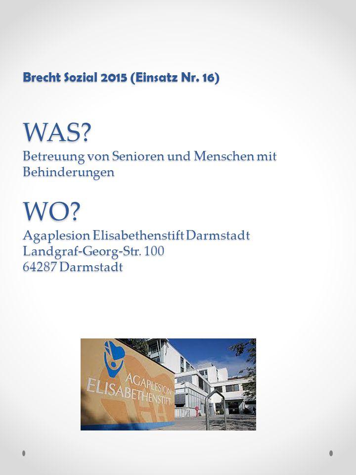 Brecht Sozial 2015 (Einsatz Nr. 16) WAS. Betreuung von Senioren und Menschen mit Behinderungen WO.