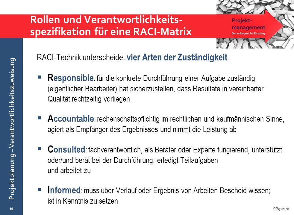 © Wytrzens Projektplanung – Verantwortlichkeitszuweisung Rollen und Verantwortlichkeits- spezifikation für eine RACI-Matrix RACI-Technik unterscheidet