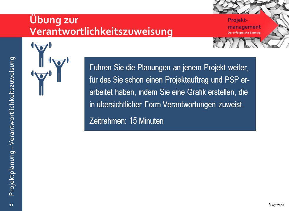 © Wytrzens Projektplanung – Verantwortlichkeitszuweisung Übung zur Verantwortlichkeitszuweisung 13 Führen Sie die Planungen an jenem Projekt weiter, f