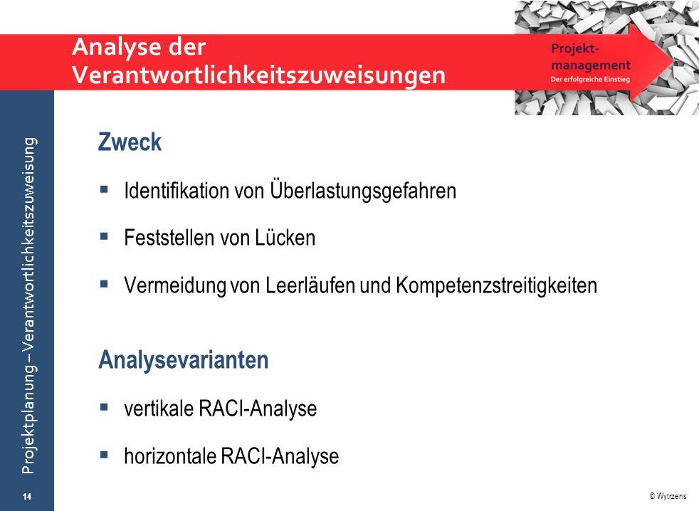 © Wytrzens Projektplanung – Verantwortlichkeitszuweisung Analyse der Verantwortlichkeitszuweisungen Zweck  Identifikation von Überlastungsgefahren 
