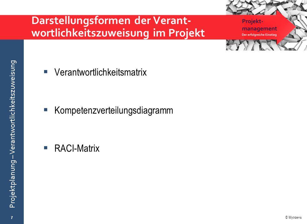 © Wytrzens Projektplanung – Verantwortlichkeitszuweisung Darstellungsformen der Verant- wortlichkeitszuweisung im Projekt  Verantwortlichkeitsmatrix