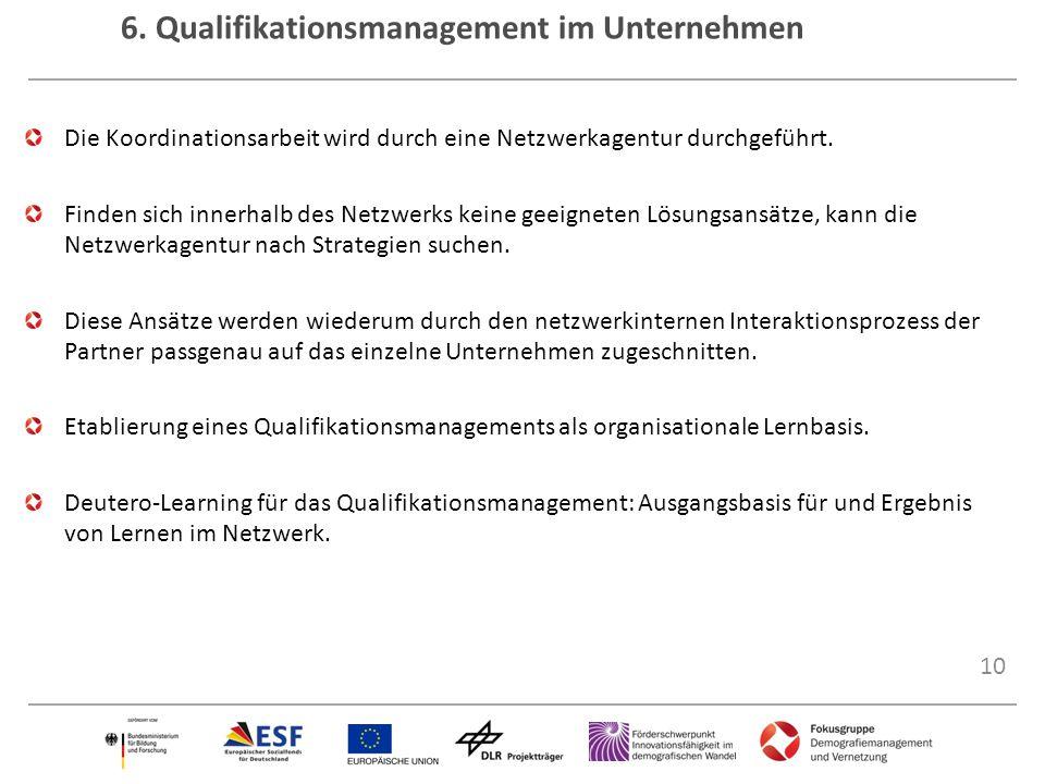 10 6. Qualifikationsmanagement im Unternehmen Die Koordinationsarbeit wird durch eine Netzwerkagentur durchgeführt. Finden sich innerhalb des Netzwerk