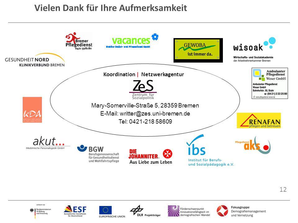 12 Vielen Dank für Ihre Aufmerksamkeit Koordination | Netzwerkagentur Mary-Somerville-Straße 5, 28359 Bremen E-Mail: writter@zes.uni-bremen.de Tel: 04