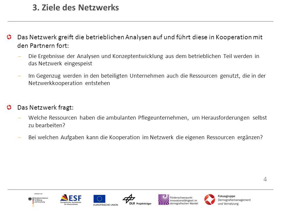 4 3. Ziele des Netzwerks Das Netzwerk greift die betrieblichen Analysen auf und führt diese in Kooperation mit den Partnern fort:  Die Ergebnisse der