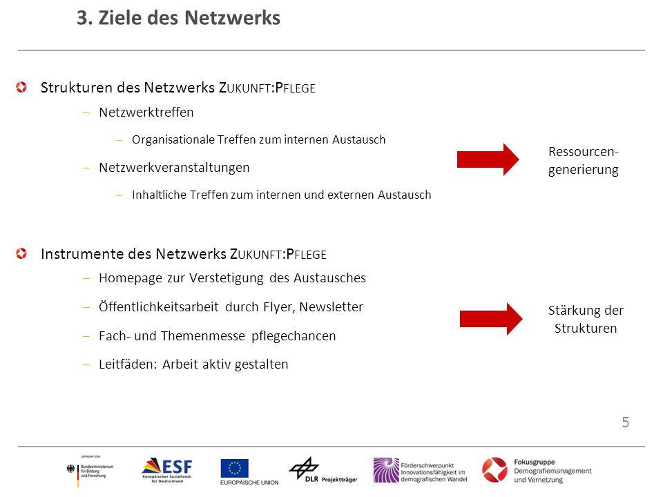 5 3. Ziele des Netzwerks Strukturen des Netzwerks Z UKUNFT :P FLEGE  Netzwerktreffen  Organisationale Treffen zum internen Austausch  Netzwerkveran