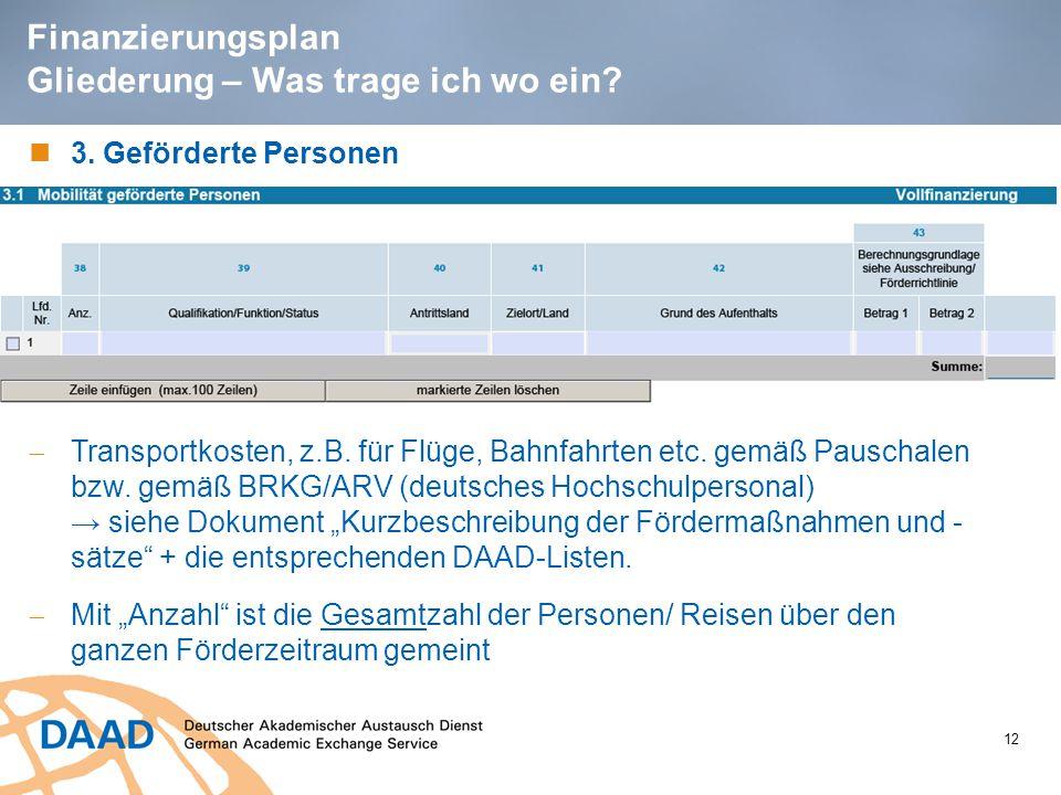 12 Finanzierungsplan Gliederung – Was trage ich wo ein? 3. Geförderte Personen  Transportkosten, z.B. für Flüge, Bahnfahrten etc. gemäß Pauschalen bz