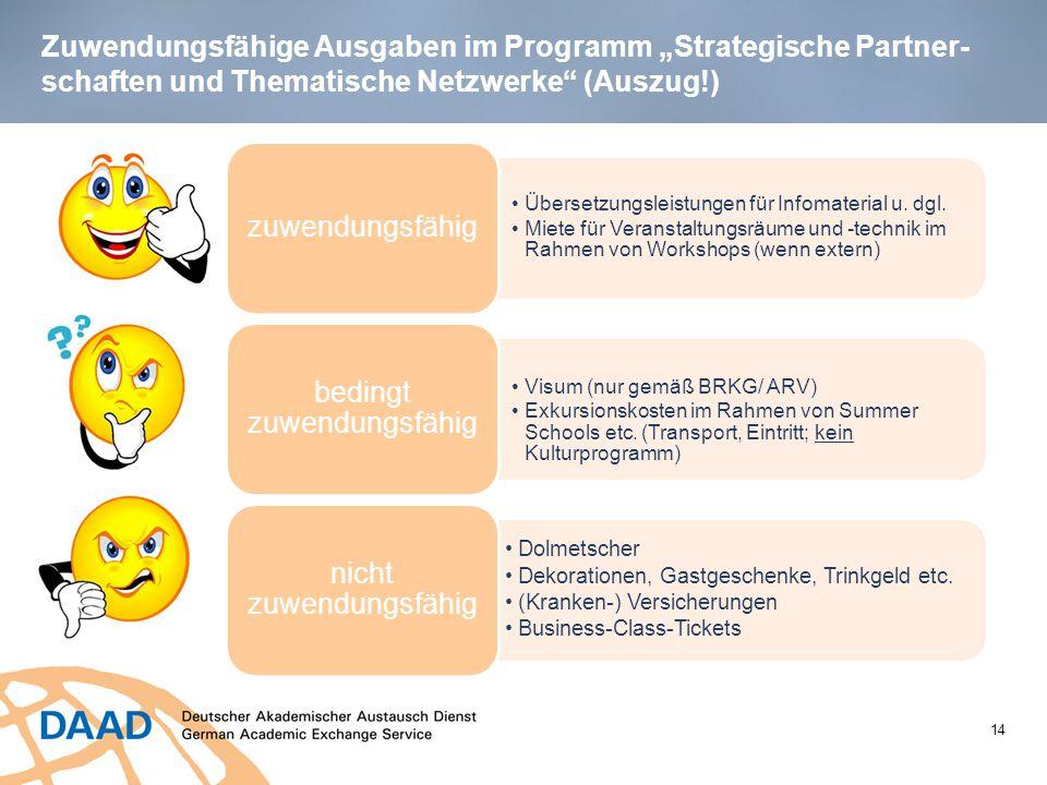 """Zuwendungsfähige Ausgaben im Programm """"Strategische Partner- schaften und Thematische Netzwerke"""" (Auszug!) 14 Übersetzungsleistungen für Infomaterial"""