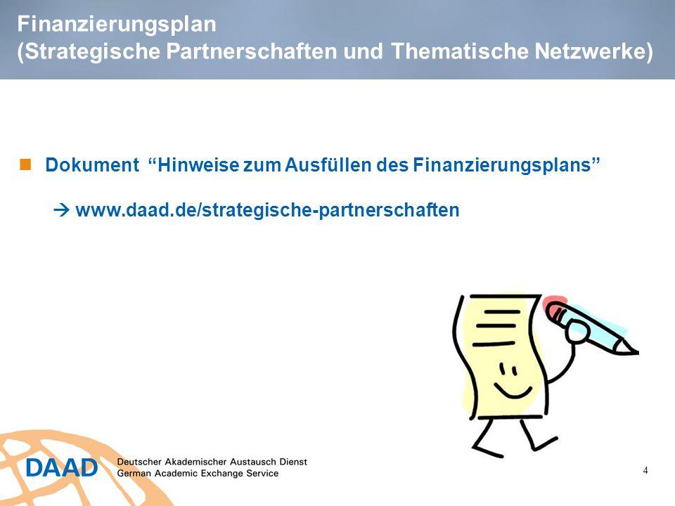"""4 Finanzierungsplan (Strategische Partnerschaften und Thematische Netzwerke) Dokument """"Hinweise zum Ausfüllen des Finanzierungsplans""""  www.daad.de/st"""