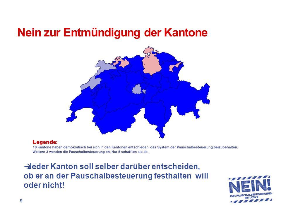 Nein zur Entmündigung der Kantone  Jeder Kanton soll selber darüber entscheiden, ob er an der Pauschalbesteuerung festhalten will oder nicht.