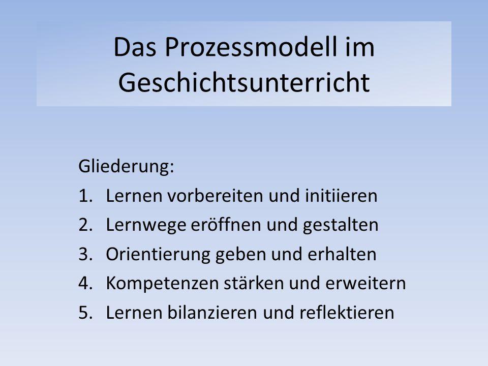 Das Prozessmodell im Geschichtsunterricht Gliederung: 1.Lernen vorbereiten und initiieren 2.Lernwege eröffnen und gestalten 3.Orientierung geben und e