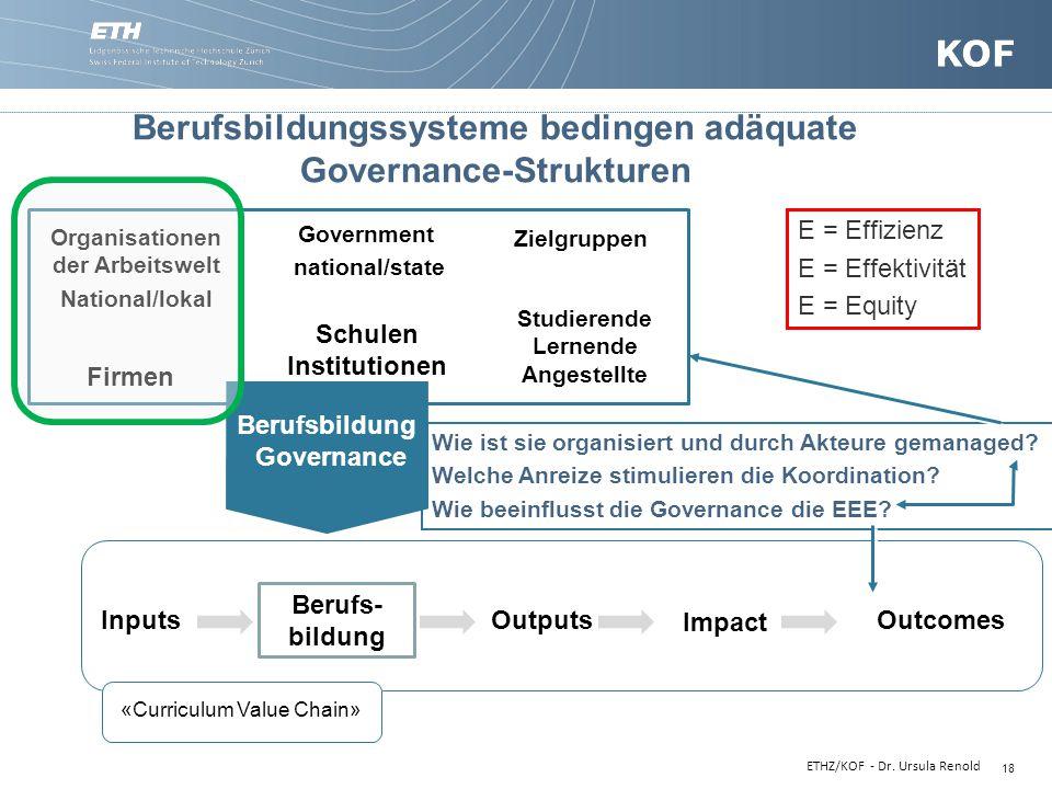 18 Inputs Berufs- bildung Berufsbildungssysteme bedingen adäquate Governance-Strukturen Outputs Impact Outcomes Government national/state Firmen Studi