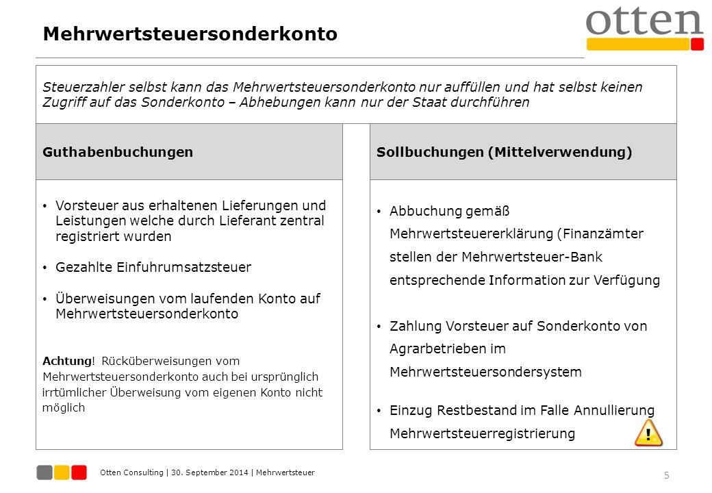 Otten Consulting | 30. September 2014 | Mehrwertsteuer Mehrwertsteuersonderkonto 5 Guthabenbuchungen Steuerzahler selbst kann das Mehrwertsteuersonder