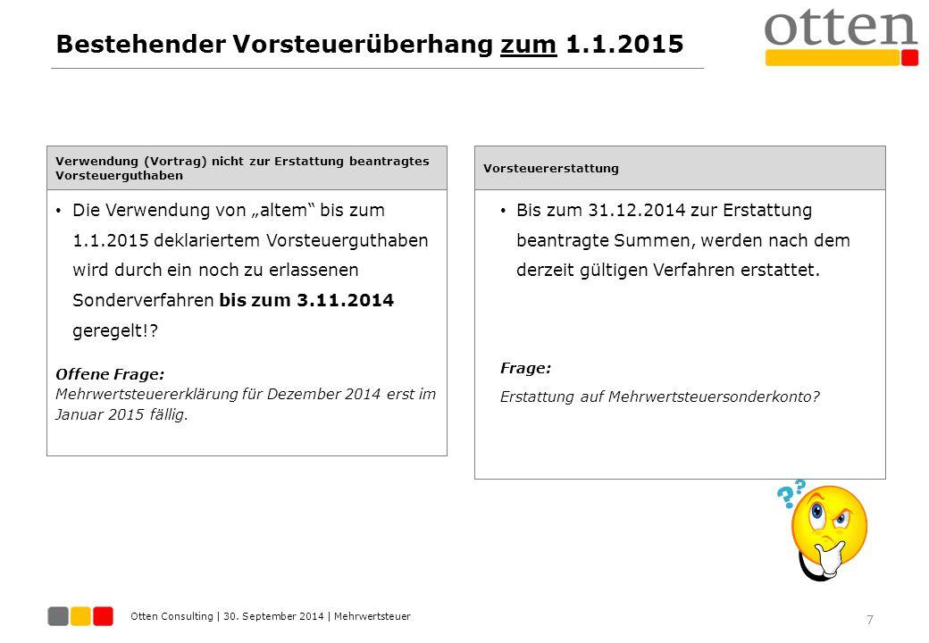 Otten Consulting | 30. September 2014 | Mehrwertsteuer Bestehender Vorsteuerüberhang zum 1.1.2015 7 Verwendung (Vortrag) nicht zur Erstattung beantrag