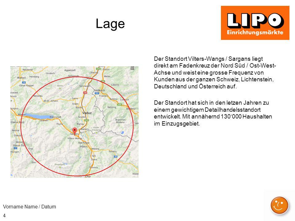 4 Lage Der Standort Vilters-Wangs / Sargans liegt direkt am Fadenkreuz der Nord Süd / Ost-West- Achse und weist eine grosse Frequenz von Kunden aus der ganzen Schweiz, Lichtenstein, Deutschland und Österreich auf.